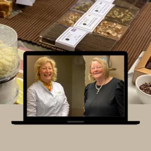 cajsa och annelie k i en bildskärm med choklad i bakgrunden